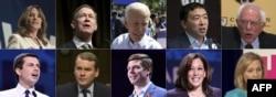 Candidatos demócratas Marianne Williamson, John Hickenlooper, Joe Biden, Andrew Yang, Sen. Bernie Sanders, Pete Buttigieg, Sen. Michael Bennet, Rep. Eric Swalwell, Sen. Kamala Harris, y Sen. Kirsten Gillibrand.