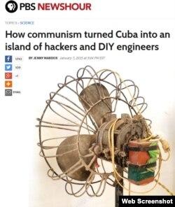 Imagen del artículo que publica PBS sobre artículos ingeniosos en Cuba.