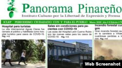 Portada del boletín Panorama Pinareño con notas destacadas sobre coronavirus en Cuba.