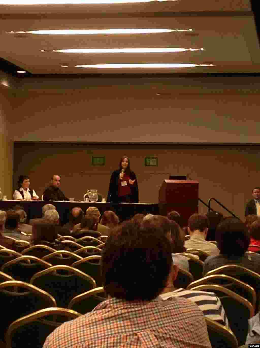 Mariela Castro durante su conferencia