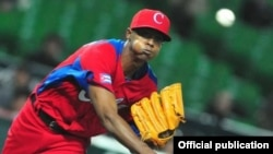 El pitcher guantanamero Raciel Iglesias.