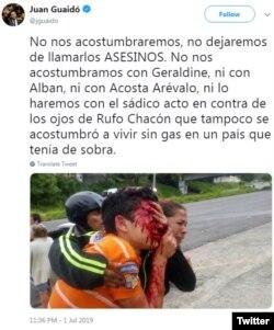 Con este mensaje de Twitter, el presidente interino de Venezuela Juan Guaidó denunció el caso del adolescente Rufo Chacón, a quien le sacaron los ojos con perdigones en Táchira.