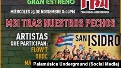 Folleto del Gran Estreno, en solidaridad con la protesta del Movimiento San Isidro.