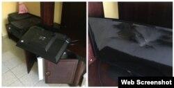 La caída de la televisión no provocó daños adicionales a la habitación, dijo el turista canadiense. (Captura imagen/CBC.ca)