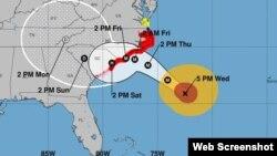 Pronóstico de trayectoria del huracán Florence, miércoles 5:00 pm. (NHC)