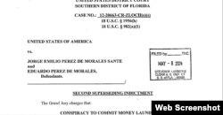 Acusación contra Jorge Emilio y Eduardo Pérez de Morales por conspiración para lavar dinero.