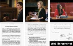 Las Diputadas del PP por A Coruña Valentina Martinez Ferro, Martha Gonzalez Vazquez y Belen Hoyo Julia por Valencia. Tomado del MCL