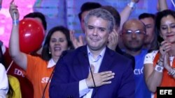 El candidato del partido uribista Centro Democrático, Iván Duque.