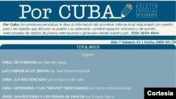 Boletín Por Cuba, del Ministerio de Cultura.