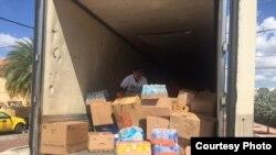 Contenedor donde se colecta ayuda humanitaria para cubanos varados en Nuevo Laredo.