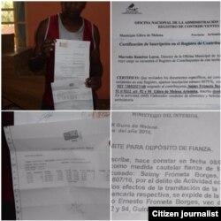 Saimy Frómeta Borges muestra documentos de compras y la fianza