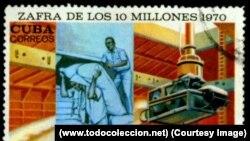 Sello postal cubano de 1970 alusivo a la Zafra de los 10 millones