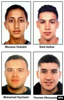 De arriba a abajo y de izquierda a derecha: Moussa Oukabir,Said Aallaa,Mohamed Hychami y Younes Abauyaaqoub. Las fuerzas de seguridad buscan, además de a Moussa Oukabir, un joven de 17 años considerado como presunto autor del atentado en La Rambla de Bar