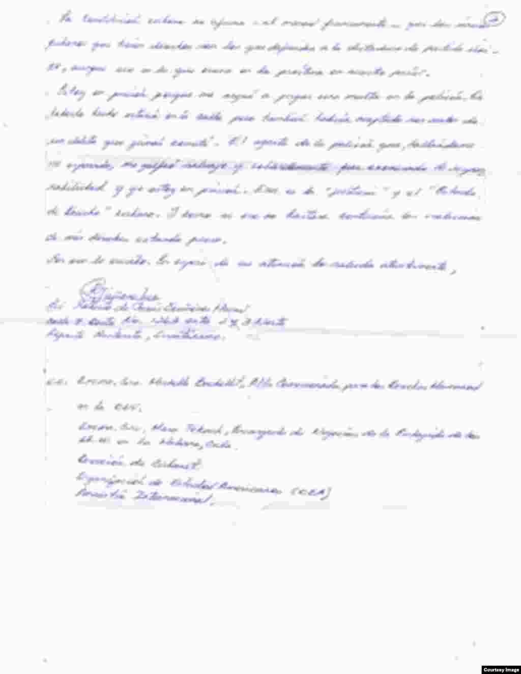 Quiñones Haces denuncia de puño y letra los abusos que recibe en prisión.