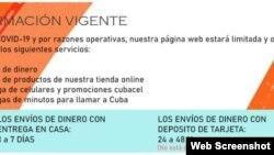 El anuncio del sitio de internet de Cubamax sobre la suspensión de los envíos en dólares.