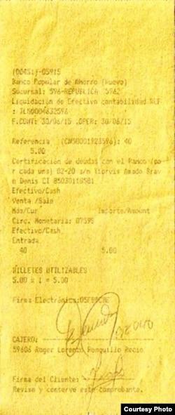 Comprobante del Banco Popular de Ahorro que exonera a Bravo de toda deuda (II).