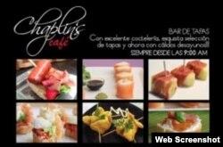 Publicidad del Chaplin´s Cafe de Roberto Robaina