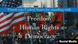 Firma de ley de apoyo a democracia en Hong Kong.
