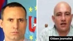 José Daniel Ferrer (izq), coordinador nacional de la UNPACU, y el activista Ebert Hidalgo. Ambos permanecen detenidos en Santiago de Cuba.