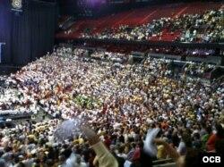 Vista parcial del American Airlines Arena en Miami el día de la Caridad