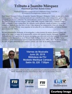 Tributo a Juanito Márquez en la Universidad Internacional de la Florida, Miami, 28 de junio de 2019.