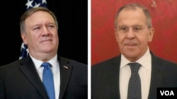 El secretario de Estado, Mike Pompeo, y el ministro de Exteriores ruso, Serguéi Lavrov. (Archivo)