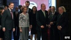 Los reyes de España, don Juan Carlos y doña Sofía, acompañados por los príncipes de Asturias, el presidente del Gobierno español, Mariano Rajoy.