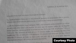 Carta de reclamación por expulsión de trabajo de Josefina Romero Pérez.
