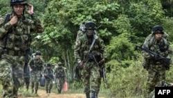 Soldados colombianos patrullan la serranía.