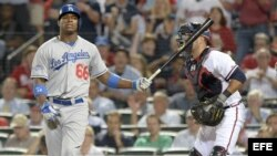 El jardinero derecho de Los Dodgers de Los Ángeles, Yasiel Puig.