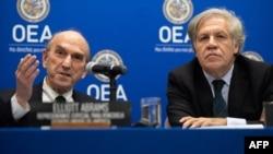Elliott Abrams (izq.), representante especial de Estados Unidos para venezuela, junto a Luis Almagro, secretario general de la OEA. Foto: SAUL LOEB/ AFP.
