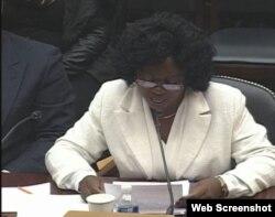 Berta Soler en su comparecencia en el Subcomité de la Cámara de Representantes de EEUU.