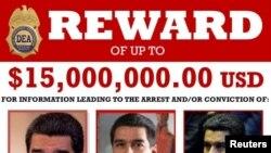 Cartel de la DEA anunciando recompensa por información que conduzca a la captura y enjuiciamiento del gobernante venezolano Nicolás Maduro.