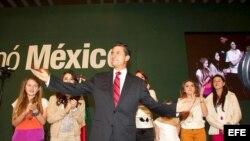 Enrique Peña Nieto durante su celebración como virtual ganador de los comicios presidenciales del domingo.