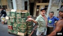 Recolectores de materia prima esperan su turno para vender su mercancía. Foto de archivo