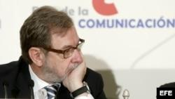 El presidente de Prisa, Juan Luis Cebrián, durante el desayuno informativo en Madrid.