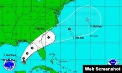 La trayectoria de la depresión tropical número 9 de esta temporada en el Atlántico. (NHC)