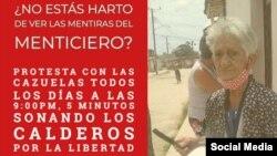 Convocan a cacerolazo para protestar por la libertad de Cuba.