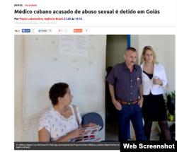 El médico cubano Luiz Henrique D. Madruga, luego de declarar en la Delegación de la da Mujer en Luziânia.
