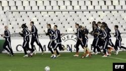 Los jugadores del FC Shakhtar Donetsk ucraniano, durante un entrenamiento (Archivo).