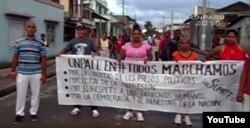 Activistas de UNPACU en Palma Soriano, durante una marca en diciembre (momento antes de ser arrestados).