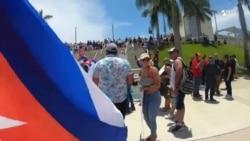 Imágenes de las protestas durante el encuentro entre Cuba y Venezuela
