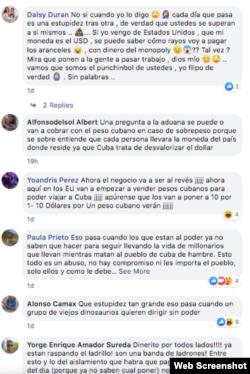 Comentarios de usuarios en el perfil de Facebook de la Aduana de Cuba.