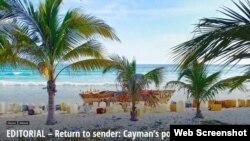 """La imagen que acompaña el editorial de Cayman Compass: """"Devuélvase al remitente: la política de Cayman sobre los migrantes cubanos""""."""