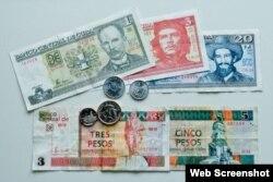 Monedas y billetes cubanos