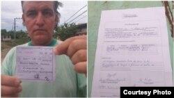 Adriano Castañeda muestra el comprobante de multa que le fue impuesta y el acta de decomiso de su teléfono móvil. (Foto cortesía de Adriano Castañeda)