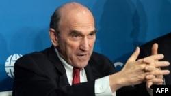 El representante especial de Estados Unidos para Venezuela, Elliot Abrams, durante una conferencia de prensa.