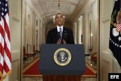 El presidente estadounidense Barack Obama se dirige a la nación en la Casa Blanca en Washington (EE.UU.).