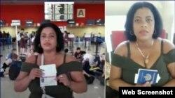 La Dama de Blanco Jackeline Heredia con sus documentos de viaje en el Aeropuerto de La Habana. (Foto: Katherine Mojena/Cubanet)