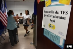 Una salvadoreña tramita la renovación de su Estatus de Protección Temporal (TPS), en 2016. (Archivo)